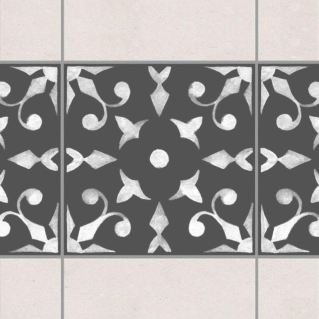 Fliesen Bordüre - Muster Dunkelgrau Weiß Serie No.06 - 20cm x 20cm Fliesensticker Set