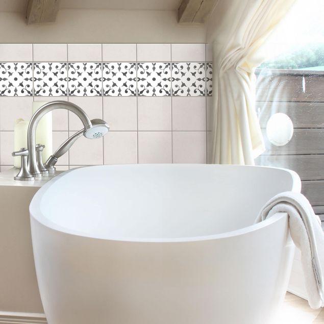 Fliesen Bordüre - Muster Grau Weiß Serie No.6 - 10cm x 10cm Fliesensticker Set