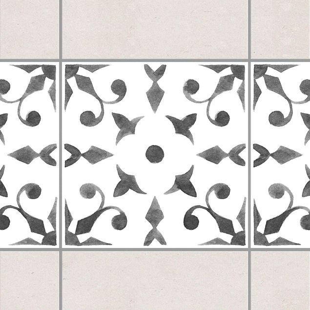 Fliesen Bordüre - Muster Grau Weiß Serie No.6 - 20cm x 20cm Fliesensticker Set
