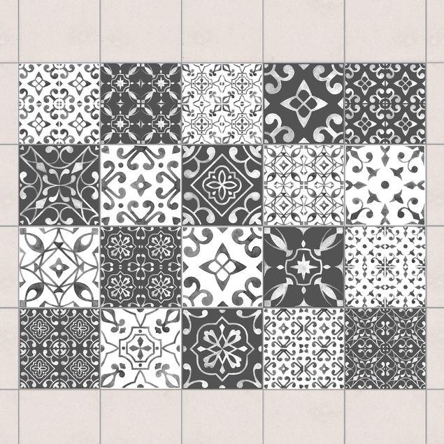 Fliesenaufkleber - Farbmix Muster Grau Weiß