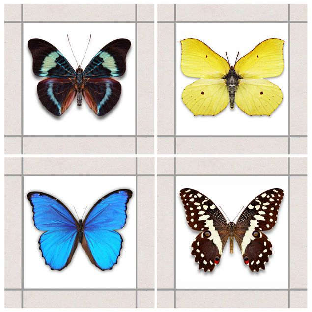 Fliesenaufkleber - Elegantes Schmetterlingsset