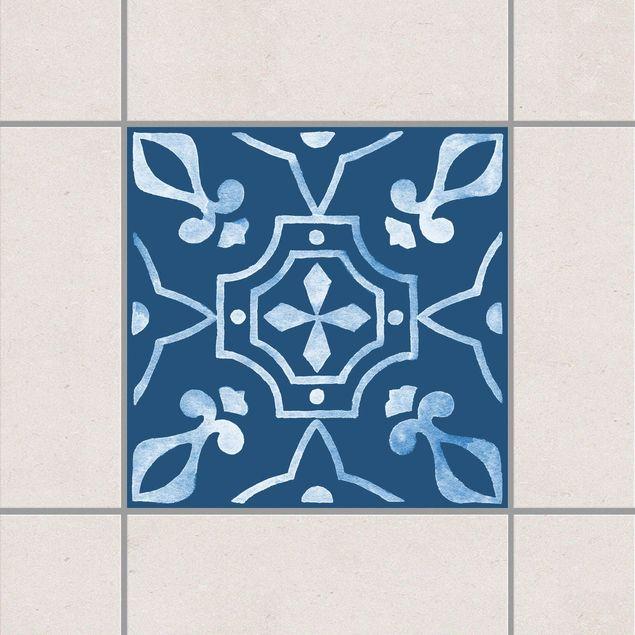 Fliesenaufkleber - Muster Dunkelblau Weiß Serie No.8