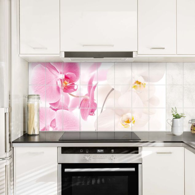 Fliesenbild - Fliesenfolie - Orchideen Delicate Orchids - Orchideen Fliesenaufkleber