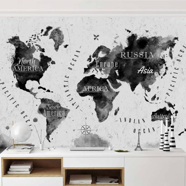 Fototapete Weltkarte Aquarell schwarz