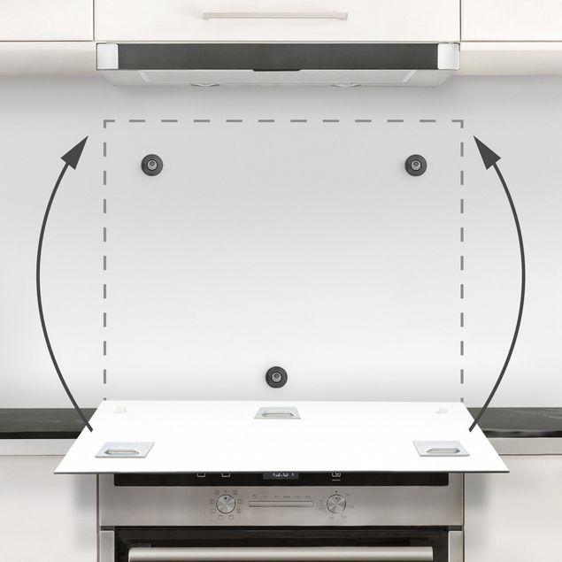 Spritzschutz Glas - Frühlingsbote Magnolie Schwarz Weiß - Quadrat 1:1