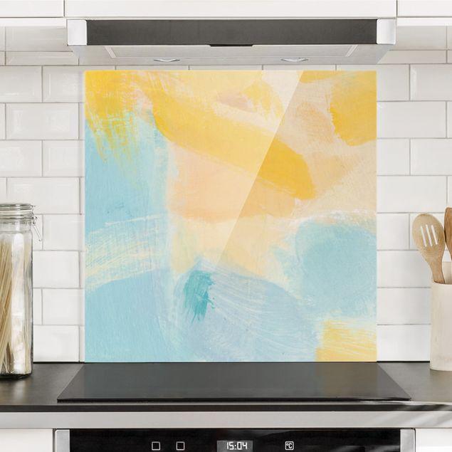 Spritzschutz Glas - Frühlingskomposition in Gelb und Blau - Quadrat 1:1