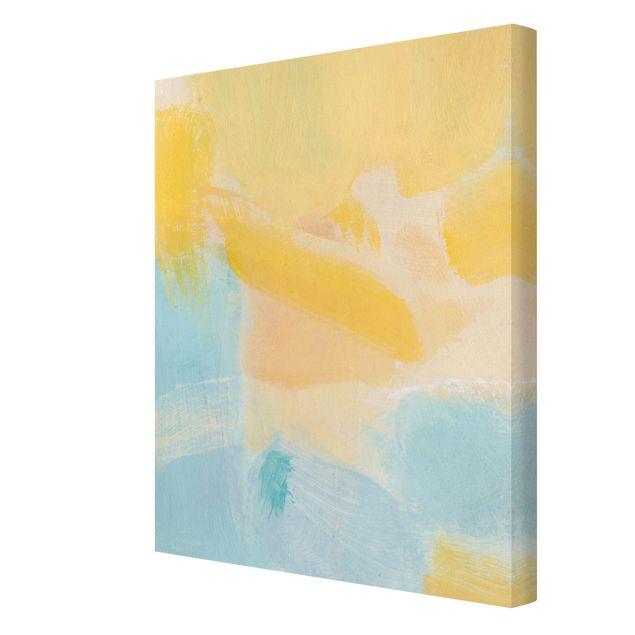 Leinwandbild - Frühlingskomposition in Gelb und Blau - Hochformat 3:4