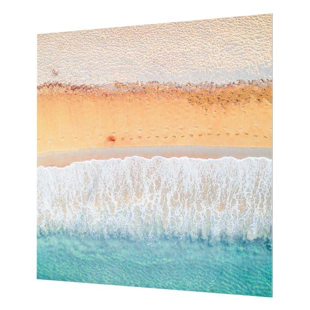 Spritzschutz Glas - Fußabdrücke im Paradies - Quadrat 1:1