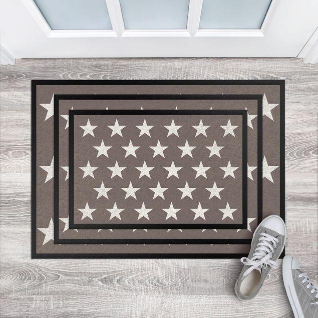 Fußmatte - Sterne versetzt graubraun weiß