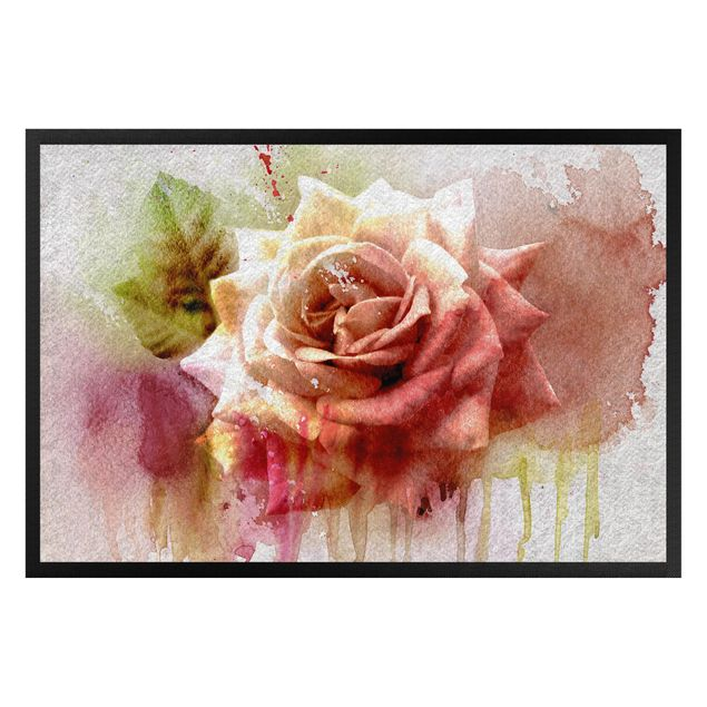 Fußmatte - Watercolor painting sketch with rose