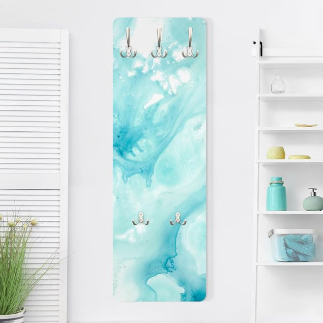 Garderobe - Emulsion in weiß und türkis I