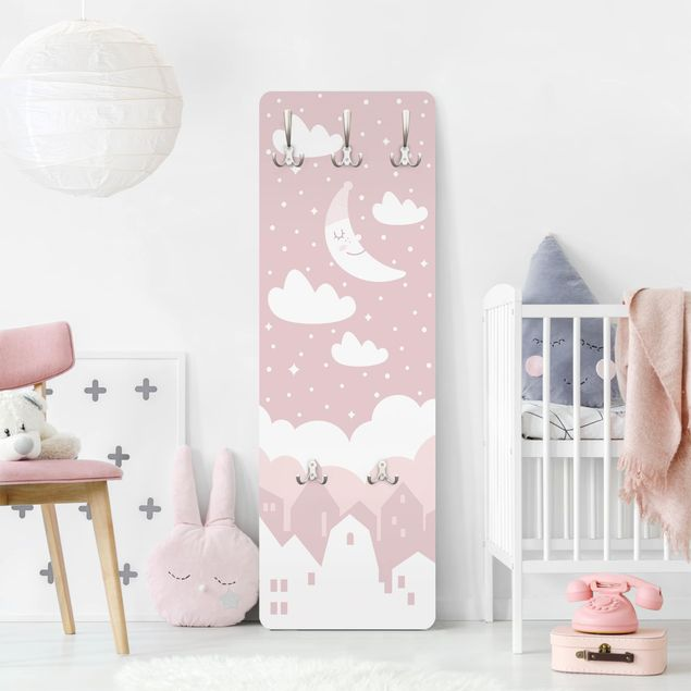 Garderobe - Sternenhimmel mit Mond rosa