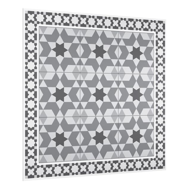 Spritzschutz Glas - Geometrische Fliesen Kaleidoskop Grau mit Bordüre - Quadrat 1:1