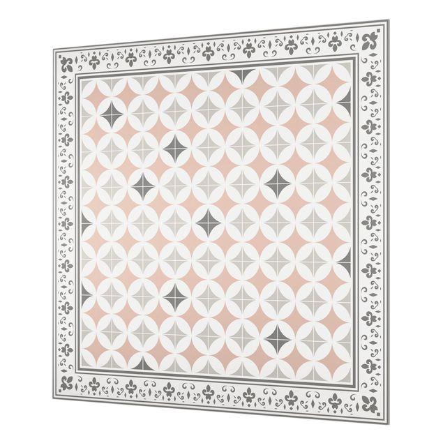 Spritzschutz Glas - Geometrische Fliesen Kreisblüten Orange mit Bordüre - Quadrat 1:1