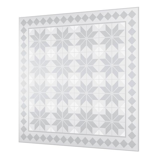 Spritzschutz Glas - Geometrische Fliesen Sternblume Grau mit Bordüre - Quadrat 1:1