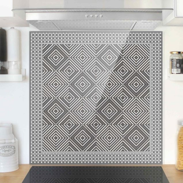 Spritzschutz Glas - Geometrische Fliesen Strudel Grau mit Mosaikrahmen - Quadrat 1:1