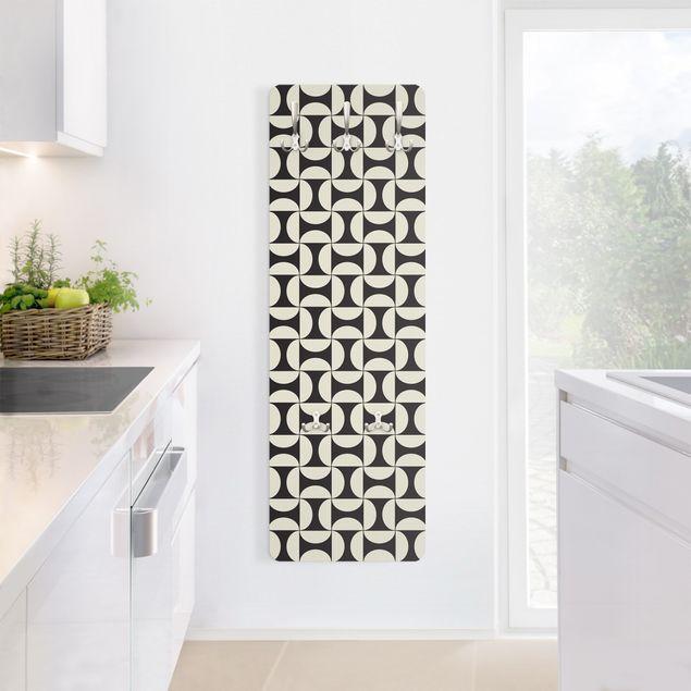 Garderobe - Geometrische Fliesenbögen Sand mit Bordüre