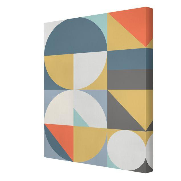 Leinwandbild - Geometrische Formen in Bunt - Hochformat 3:4