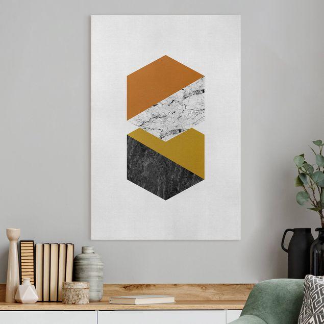 Leinwandbild - Geometrische Hexagone - Hochformat 2:3