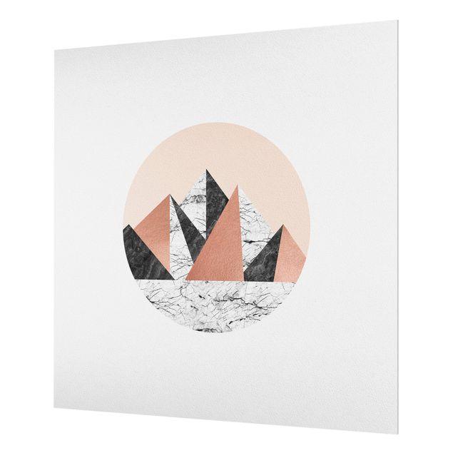 Spritzschutz Glas - Geometrische Landschaft im Kreis - Quadrat 1:1