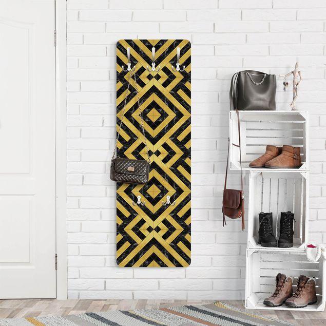 Garderobe - Geometrischer Fliesenmix Art Deco Gold Schwarzer Marmor
