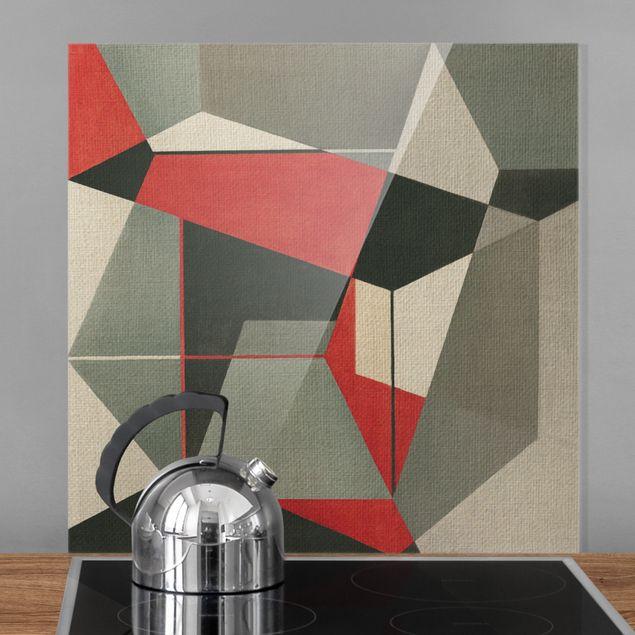 Spritzschutz Glas - Geometrischer Fuchs - Quadrat 1:1