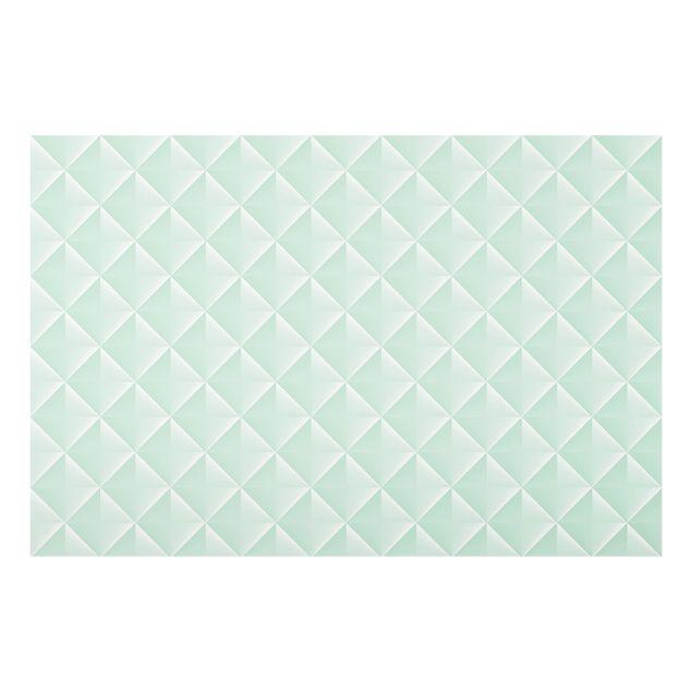 Spritzschutz Glas - Geometrisches 3D Rauten Muster in Mint - Querformat 3:2