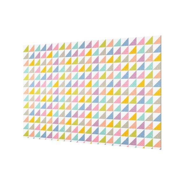 Spritzschutz Glas - Geometrisches Muster mit Dreiecken in Bunt - Querformat 3:2