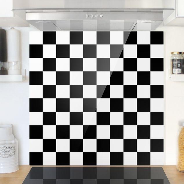 Spritzschutz Glas - Geometrisches Muster Schachbrett Schwarz Weiß - Quadrat 1:1