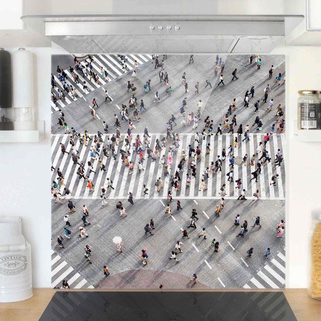 Spritzschutz Glas - Gewusel von oben - Quadrat 1:1