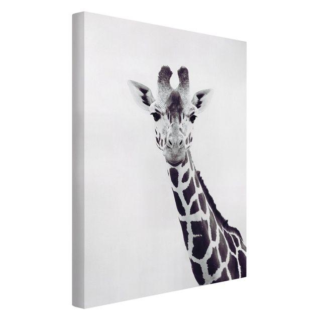 Leinwandbild - Giraffen Portrait in Schwarz-weiß - Hochformat 2:3