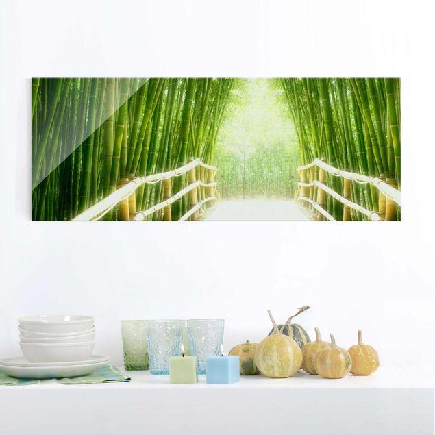 Glasbild - Bamboo Way - Panorama Quer