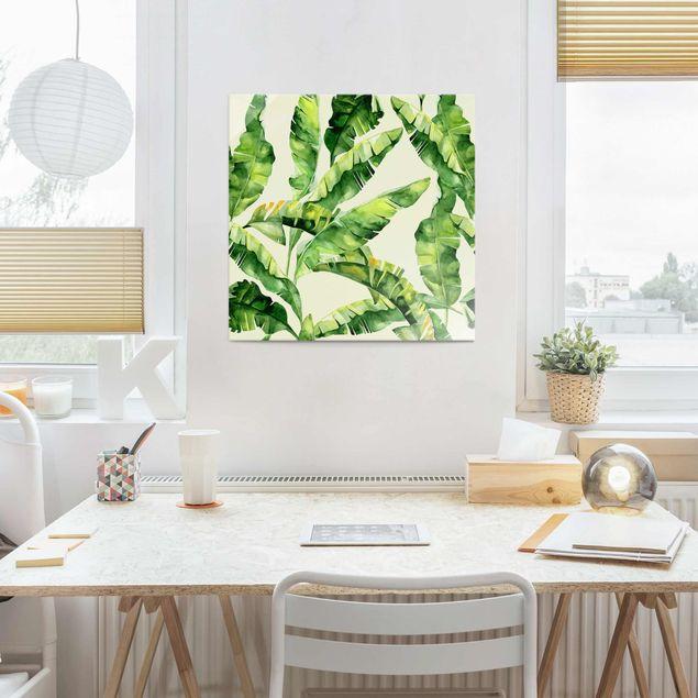 Glasbild - Bananenblätter Aquarell - Quadrat 1:1