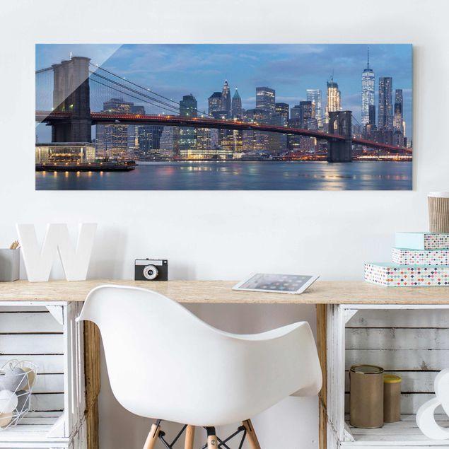 Glasbild - Brooklyn Bridge Manhattan New York - Panorama