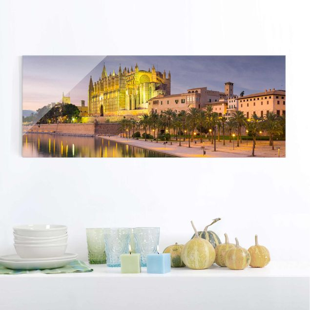 Glasbild - Catedral de Mallorca Wasserspiegelung - Panorama Quer