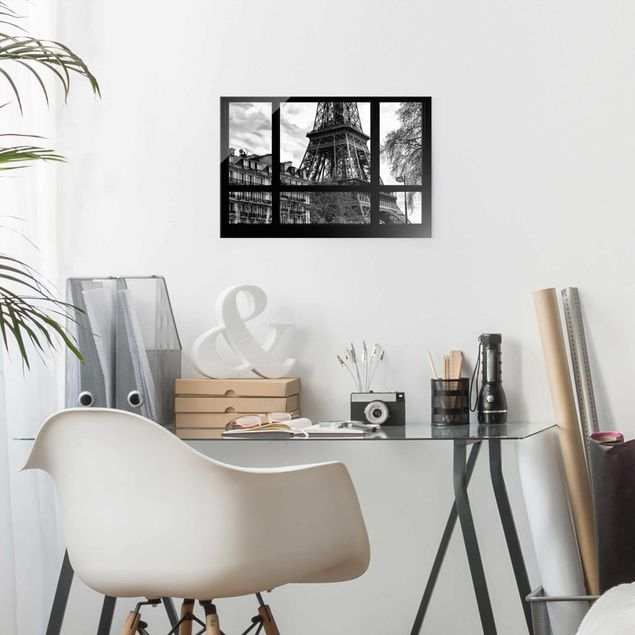 Glasbild - Fensterausblick Paris - Nahe am Eiffelturm - Quadrat 1:1