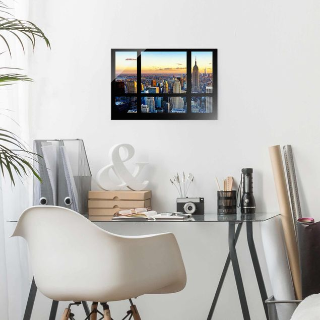 Glasbild - Fensterausblick - Sonnenaufgang New York - Quer 3:2
