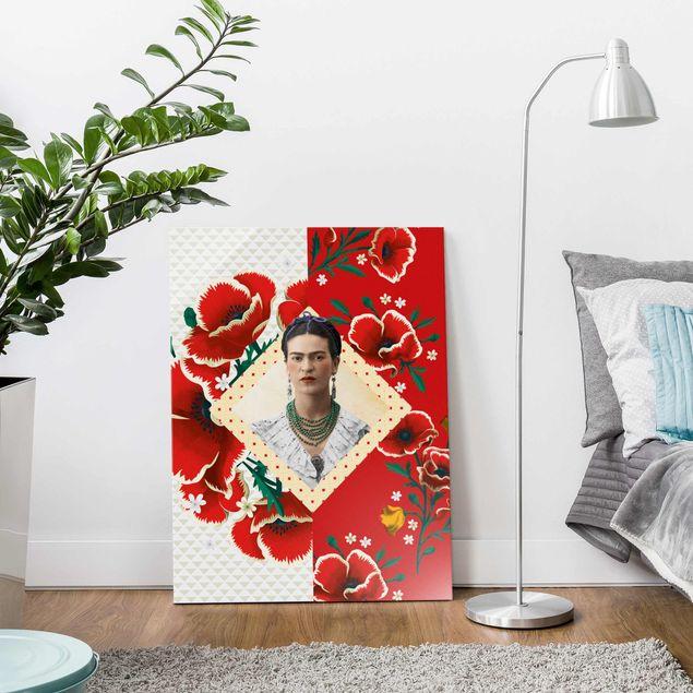Glasbild - Frida Kahlo - Mohnblüten - Hochformat 3:4