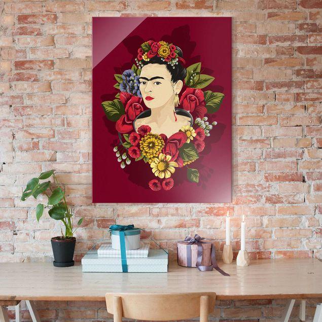Glasbild - Frida Kahlo - Rosen - Hochformat 3:4