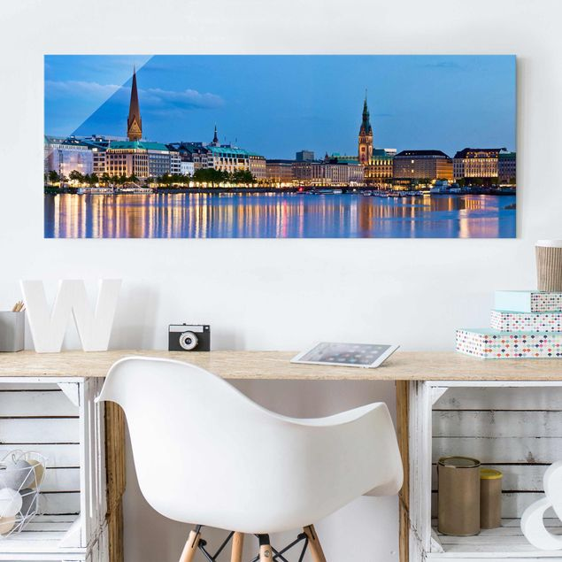 Glasbild - Hamburg Skyline - Panorama Quer