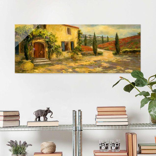 Glasbild - Italienische Landschaft - Toskana - Panorama