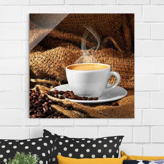 Glasbild - Kaffee am Morgen - Quadrat 1:1