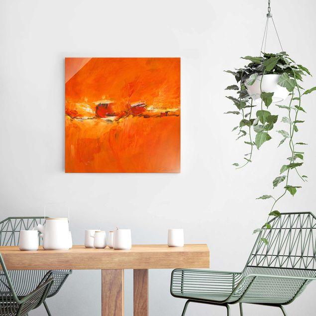 Glasbild - Komposition in Orange - Quadrat 1:1