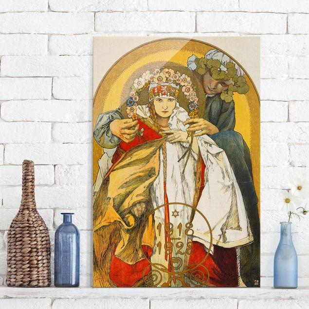 Glasbild - Kunstdruck Alfons Mucha - Plakat zum zehnten Jahrestag des Bestehens der Tschechoslowakischen Republik - Hoch 2:3