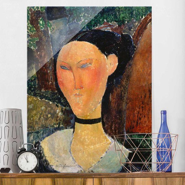 Glasbild - Kunstdruck Amedeo Modigliani - Junge Frau mit Velour-Halsband - Hoch 3:4