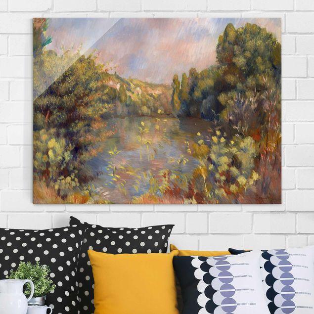 Glasbild - Kunstdruck Auguste Renoir - Landschaft mit Figuren - Impressionismus Quadrat 1:1