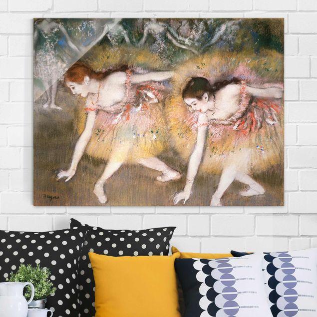 Glasbild - Kunstdruck Edgar Degas - Sich verbeugende Ballerinen - Impressionismus Quer 4:3