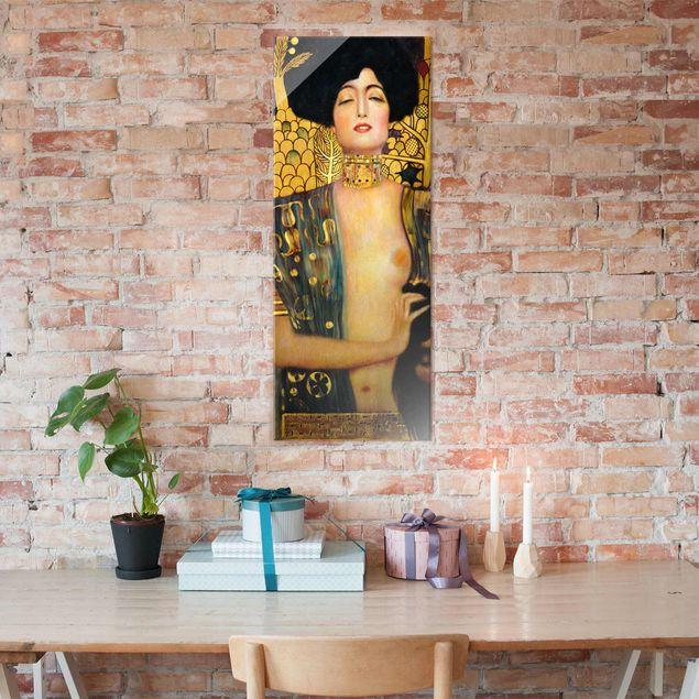 Glasbild - Kunstdruck Gustav Klimt - Judith I - Jugendstil Panorama Hoch