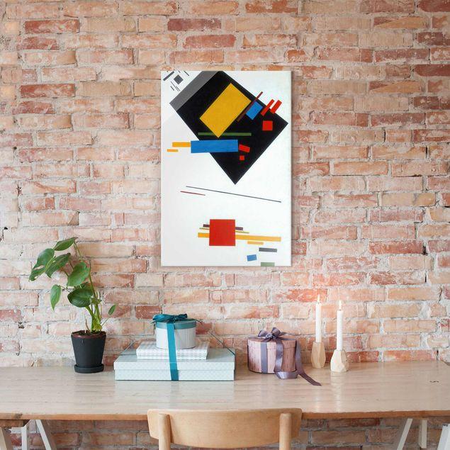 Glasbild - Kunstdruck Kasimir Malewitsch - Suprematische Malerei (Schwarzes Trapez und Rotes Quadrat) - Hoch 2:3