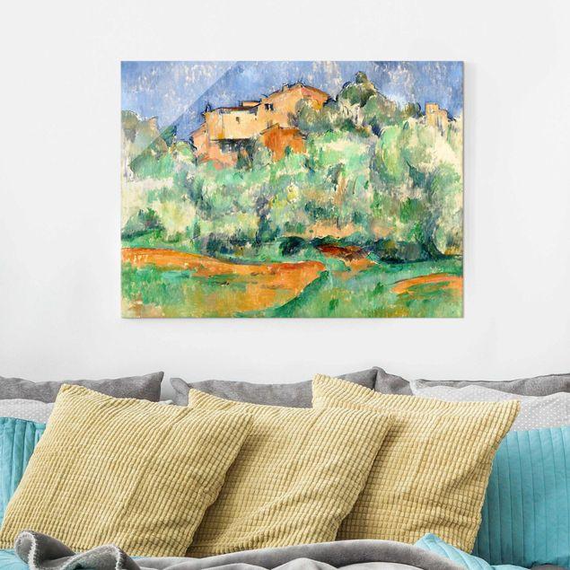 Glasbild - Kunstdruck Paul Cézanne - Haus auf bewaldeter Anhöhe mit Taubenschlag - Impressionismus Quer 4:3